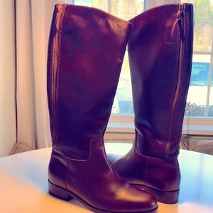 Tall leather brown boots w/ zip 9B Cole Haan NWOT